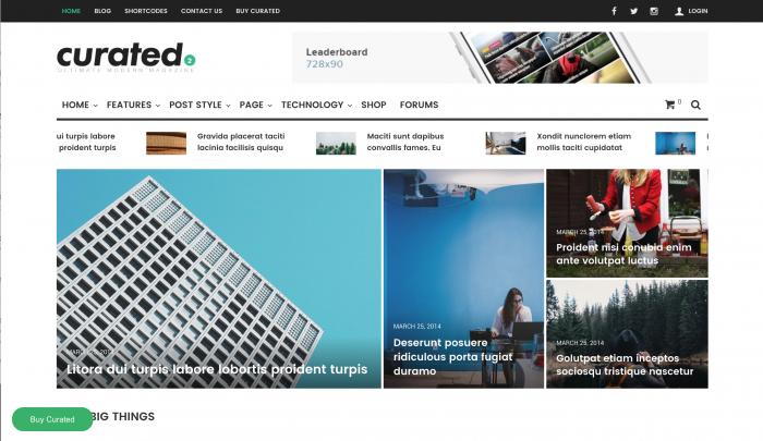 Curated Modern Magazine Travel Blog Theme for WordPress