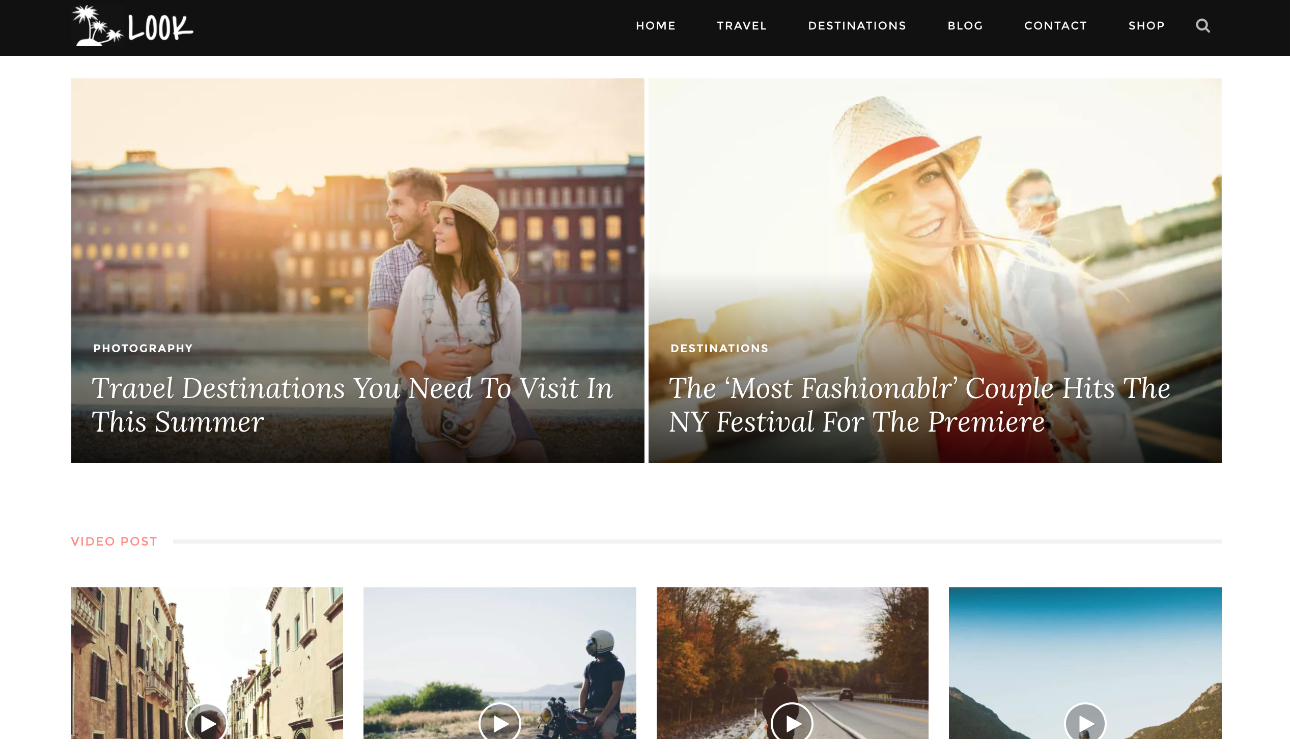 Look WordPress Theme with the travel theme setting applied.