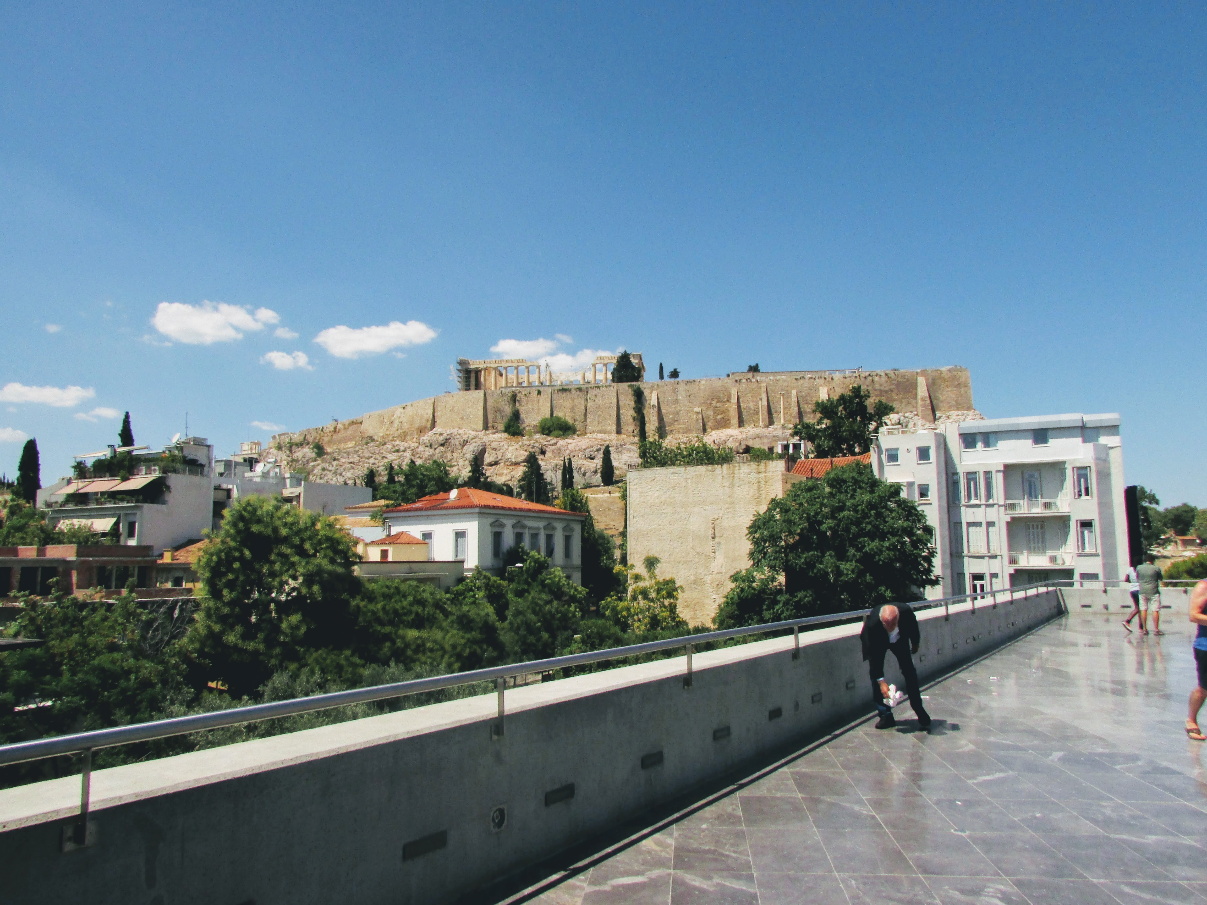 View of the Acropolis hill from the New Acropolis Museum cafe