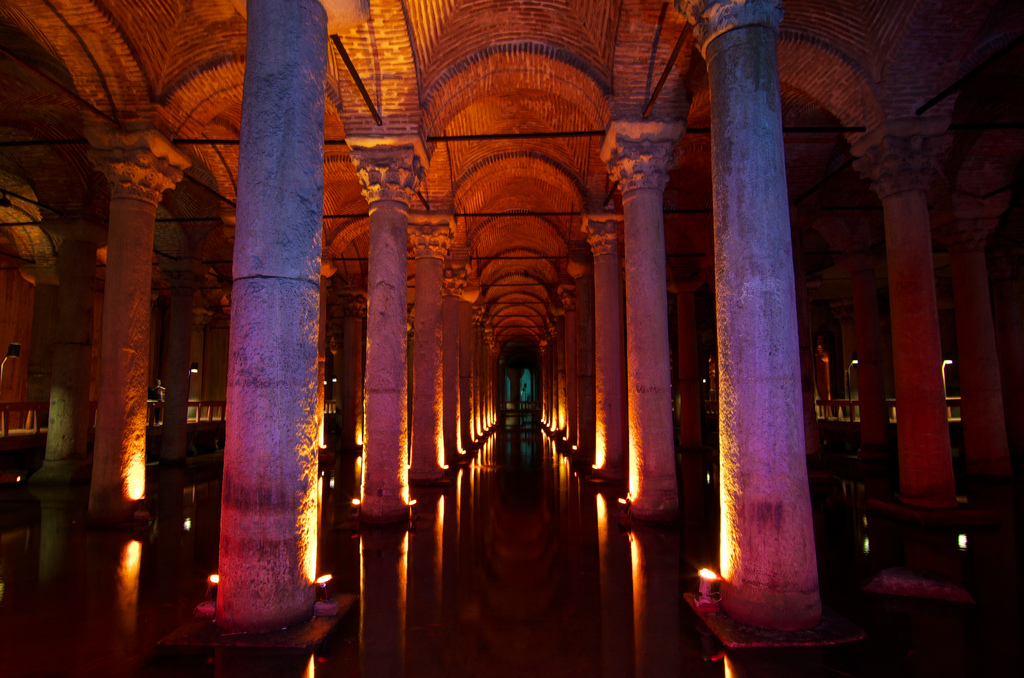 Inside of the Basilica Cistern, Istanbul Turkey