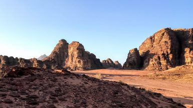 Landscape of the Wadi Rum desert in Jordan